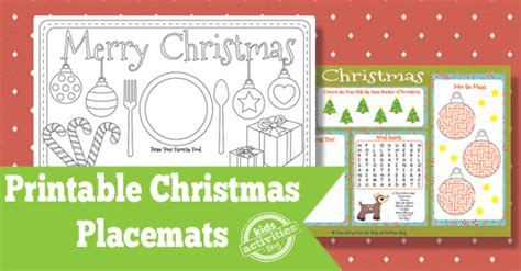 printable christmas placemats printable christmas placemats free kids printable