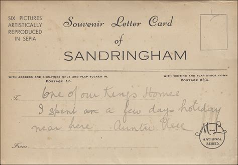 up letter to great britain great britain souvenir letter card of sandringham