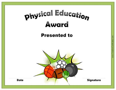 physical education certificates samweiss free pe award certificate template images certificate
