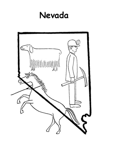 nevada map coloring page usa printables state outline shape and demographic map