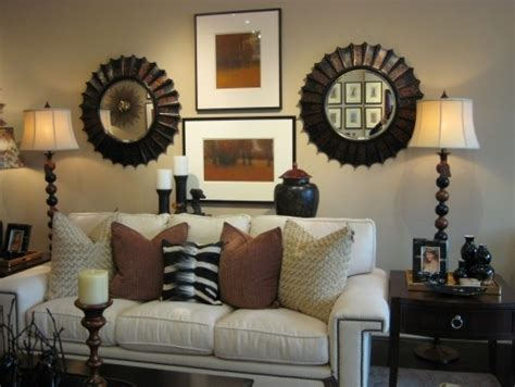 behind the couch wall decor matching mirrors flanking art decor pinterest