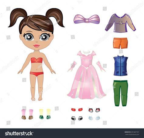 black doll dress up beautiful vector dress paper doll stock vector