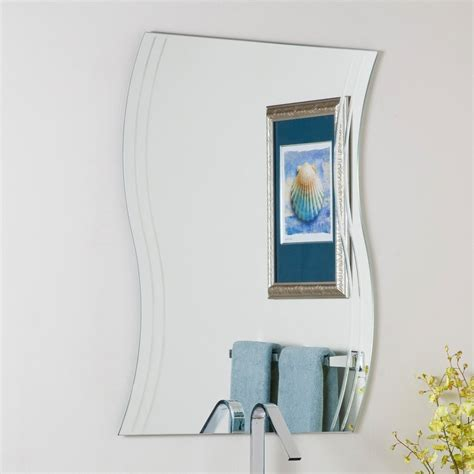 frameless bathroom mirror shop decor wonderland wave 23 6 in x 31 5 in other