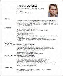 Modelo De Curriculum Vitae Empleado Administrativo Modelo Curriculum Vitae Empleado De Oficina Municipal Livecareer