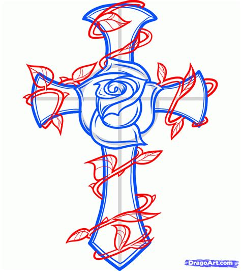 cross tattoo with rose cross and flower design