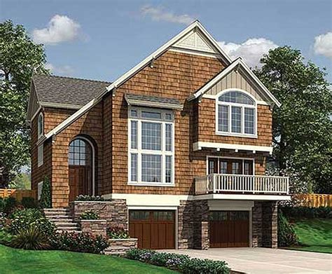 sloping house plans sloping lot country cottage 6884am 2nd floor master