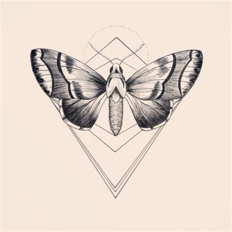 marvelous grey butterfly and geometric drawing tattoo