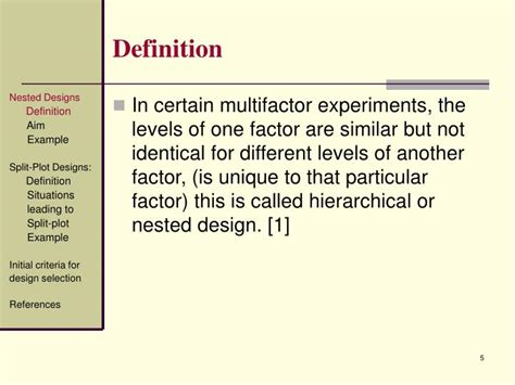 nested design definition ppt design of experiments nested designs split plot