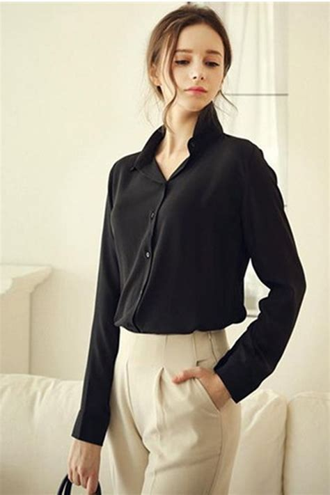 Black Blouse Sleeve Womens by Tomcarry Formal Wear Sleeved Shirt And Blouse