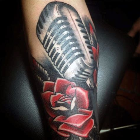 microphone flower tattoo old school style painted and colored microphone with
