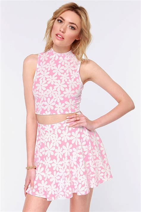 Crop Top Pink Flower pink top crop top floral print top 38 00