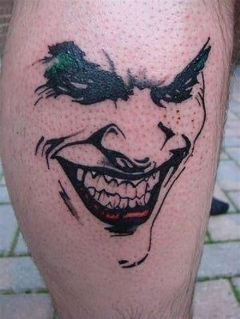 joker tattoo on calf black ink 3d joker face tattoo on calf truetattoos