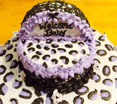 Leopard Baby Shower Cakes by Purple Leopard Print Baby Shower Cake With Bassinet