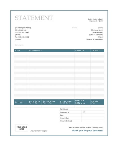 invoice statement template billing statement blue border design statements templates