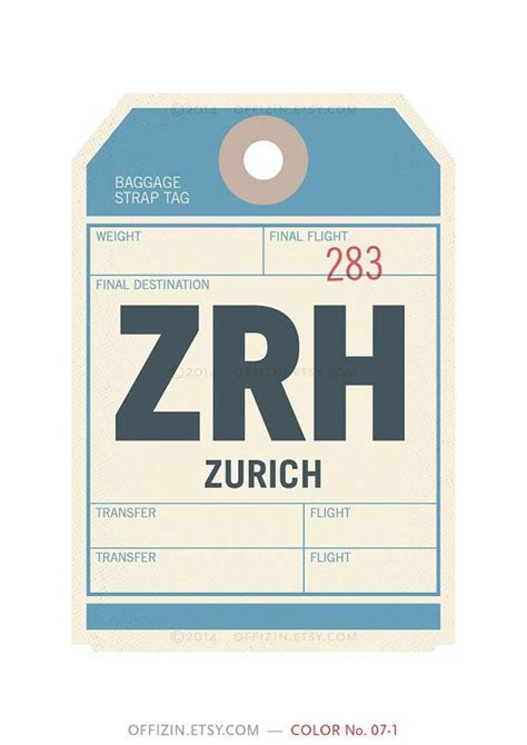 printable luggage tickets zurich switzerland zrh luggage tag poster baggage tag