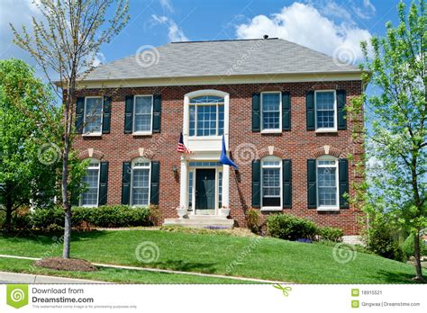 Colonial Luxury House Plans brick single family house home suburban md usa stock image