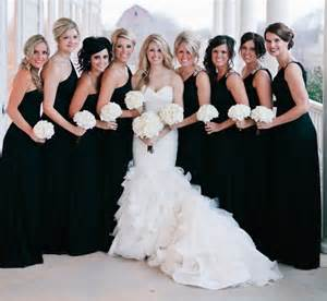 black dresses for wedding bridesmaid bridesmaids in black or just
