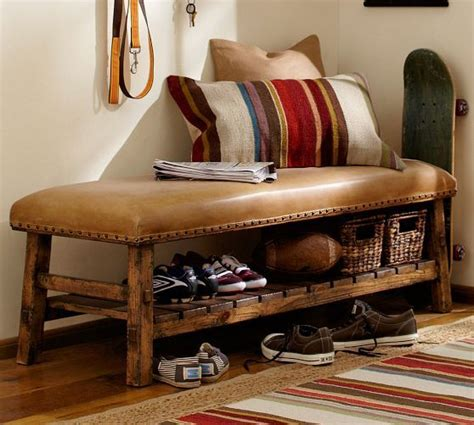 pottery bench caden leather bench pottery barn for the home