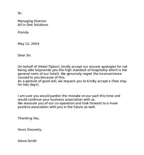 Apology Letter Exle Hotel Apology Letter 7 Free Documents In Pdf Word