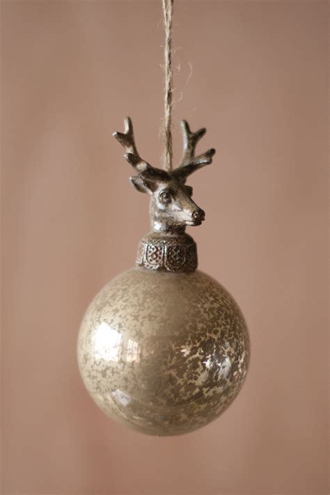 set of 6 glass balls with deer ornament