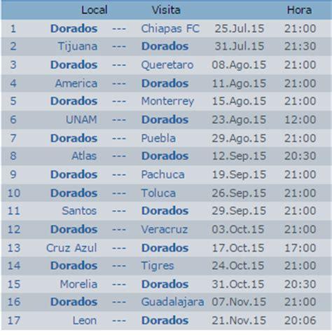 Calendario Liga Mx 2016 Dorados Calendario Dorados Culiac 225 N Apertura 2015 Futbol Mexicano