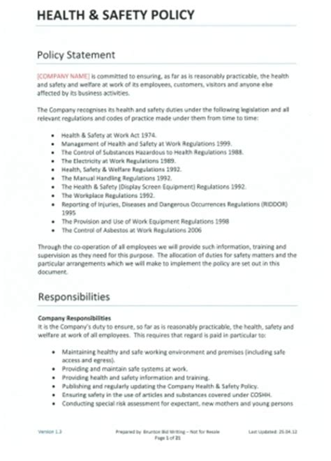 company health and safety policy template health safety policy for recruitment agencies