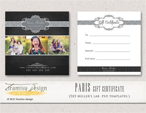 gift certificate template for photographers photography gift certificate photoshop 5x5 card template