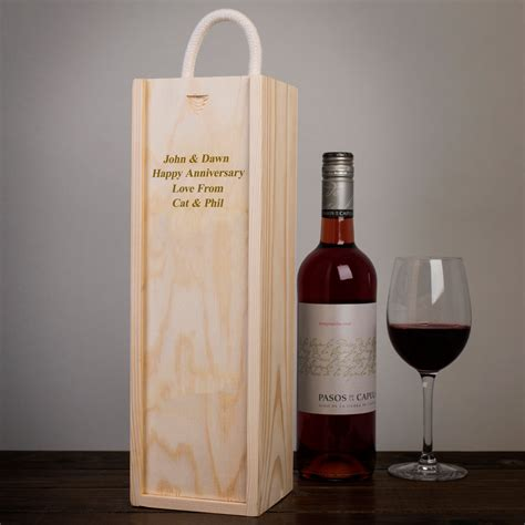 personalised wooden wine box engraved gifts