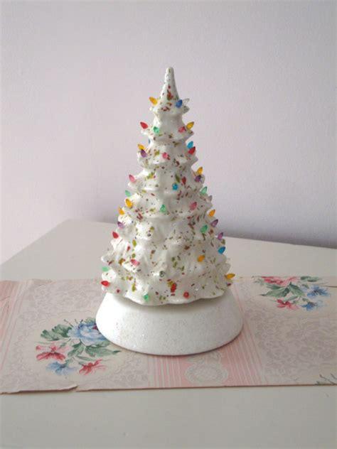 vintage christmas tree white ceramic music box plastic