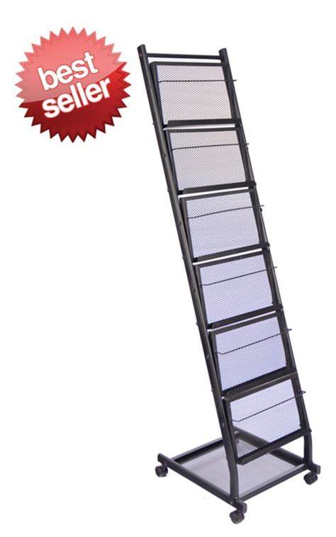 Mobile Display Rack by 6 Shelf Mobile Literature Display Rack Small