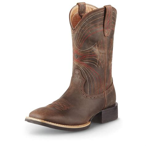 s ariat sport wide square toe boots distressed brown
