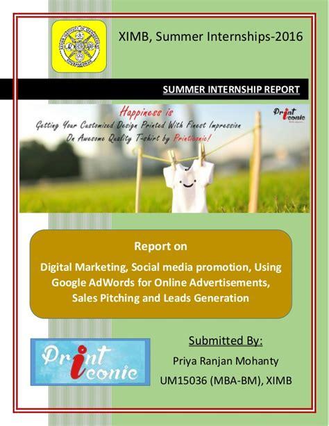Summer Internship 2016 For Mba by Summer Internship Report Printiconic Pvt Ltd