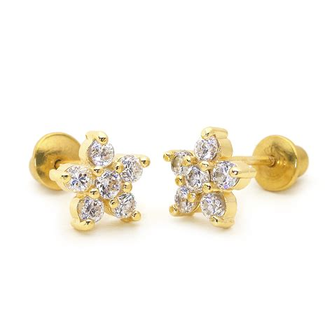 k gold plated april flower children screwback baby