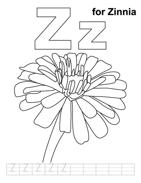 Coloring Page Zinnia letter z for zinnia coloring pages preschool
