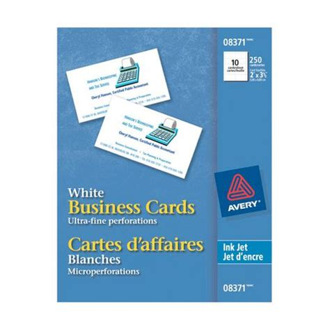 avery 174 business cards for inkjet printers 8371 white