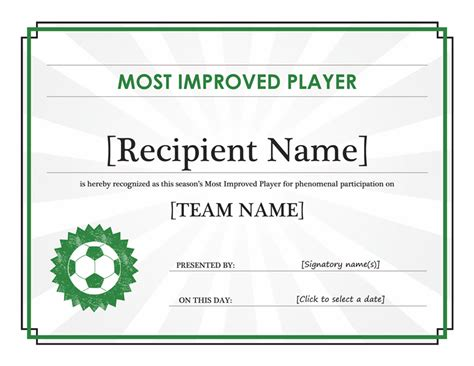 Most Improved Certificate Template most improved player certificate editable title office