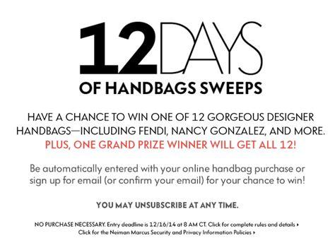 Neiman Marcus Sweepstakes - neiman marcus 12 days of handbags sweepstakes ends 12 16