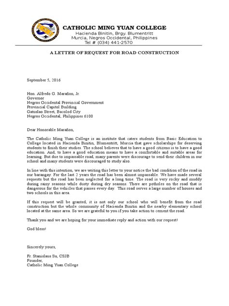 request letter to government official a sle letter of request for road construction