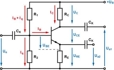 bipolar transistor berechnung arbeitspunkteinstellung mit basis spannungsteiler emitterschaltung
