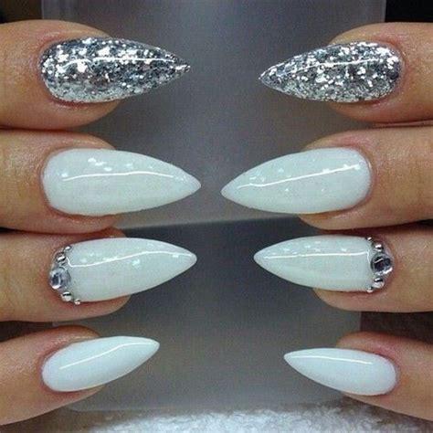 White Stiletto Nails With Designs