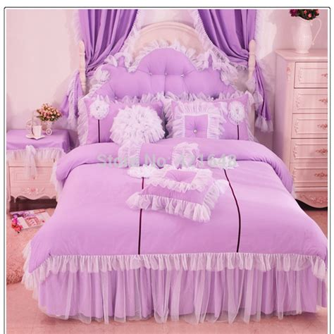 Purple Pink Blue Korean Lace Princess Bedding Set Cotton 3 Princess Bedding Set