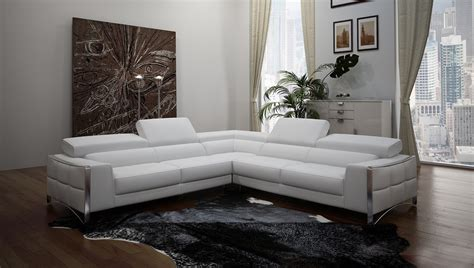 Modern White Bonded Leather Sectional Sofa Divani Casa Metz Modern White Bonded Leather Sectional Sofa