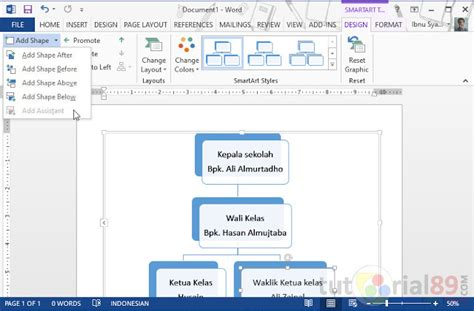 cara membuat struktur organisasi menggunakan smartart cara membuat struktur organisasi dengan word tutorial89
