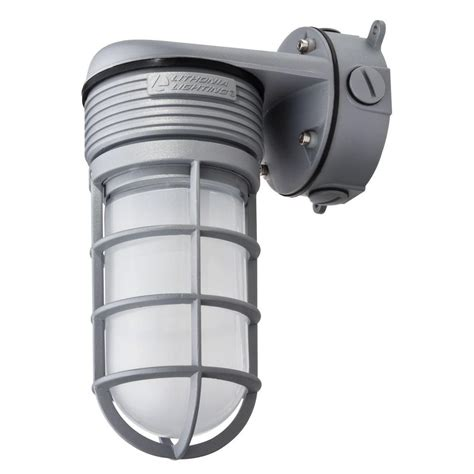 Lithonia Led Outdoor Lighting Lithonia Lighting Gray Outdoor Integrated Led Vapor Tight Wall Mount Light Olvtwm M6 The Home