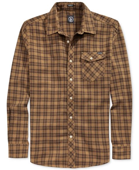 Preloved Flannel Shirt 02 volcom flartin plaid flannel shirt in brown for hide lyst