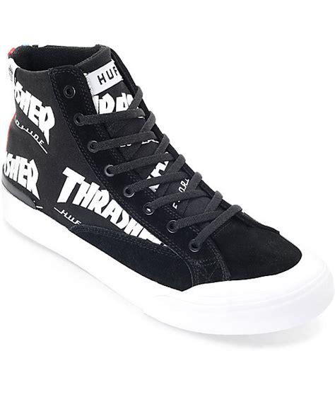thrasher shoes huf x thrasher classic hi tds black white skate shoes