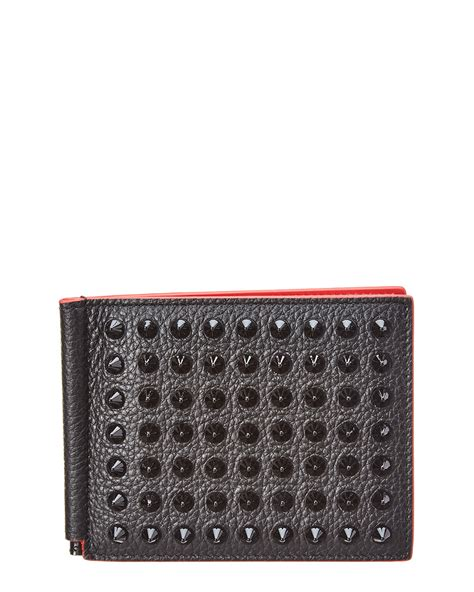 Christian Louboutin Mens Wallet Uk by Christian Louboutin Mens Clipsos Spiked Leather Money Clip Wallet Black Ebay