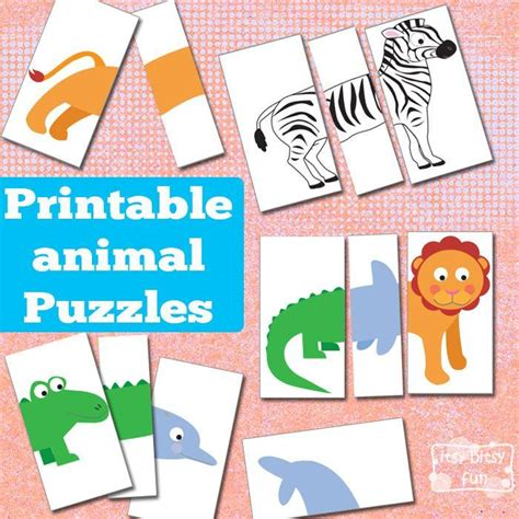 printable games for preschoolers printable animal puzzles busy bag bags awesome and for