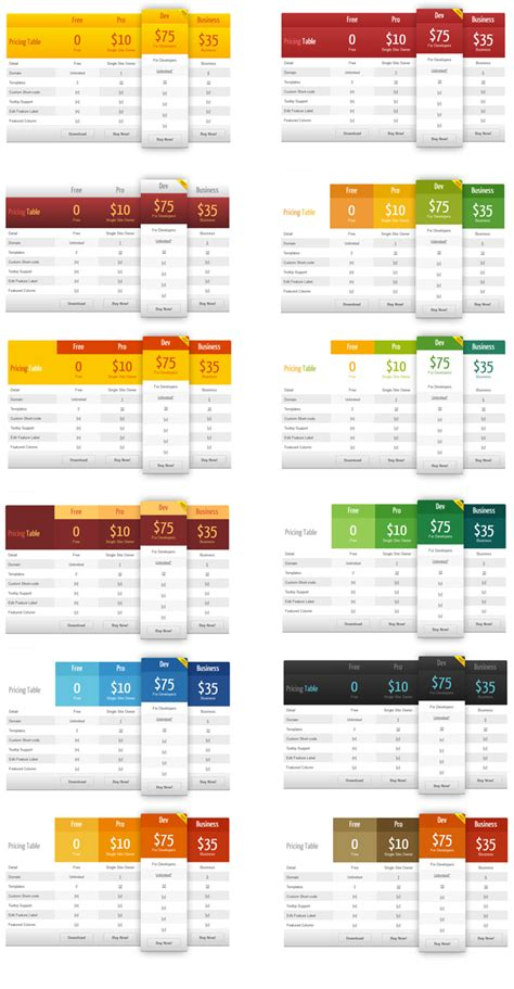 pricing table template word pricing table plugin pro
