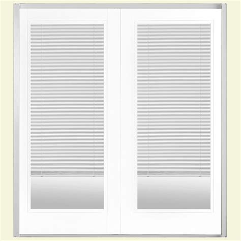 Mini Blinds For Patio Doors Masonite 72 In X 80 In Ultra White Prehung Left Inswing Mini Blind Steel Patio Door With